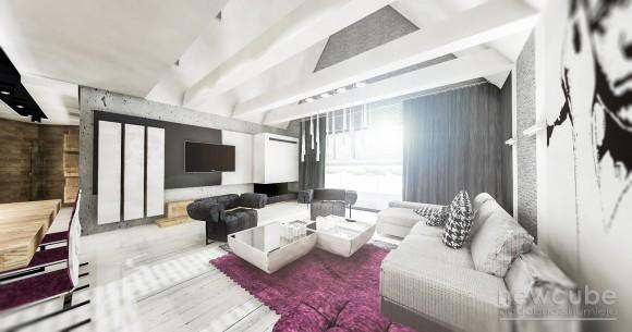 Dom jednorodzinny - projekt salonu