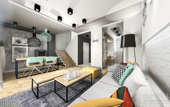 Projekt salonu w domu jednorodzinnym