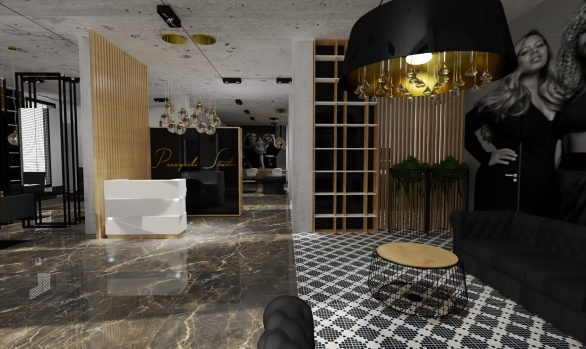 Salon kosmetyczno-fryzjerski z nutą złota i naturalnych kamieni