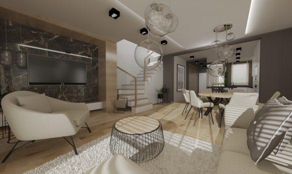 jasne i ciełpe wnetrze salonu w domu jednorodzinnym we Wrocławiu