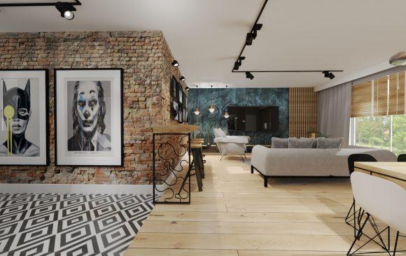 projekt salonu w klimacie loft